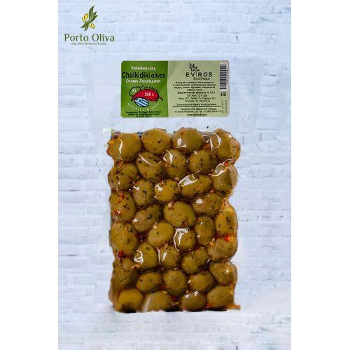Оливки зелёные Халкидики с острым перцем EVROS с/к, 250г